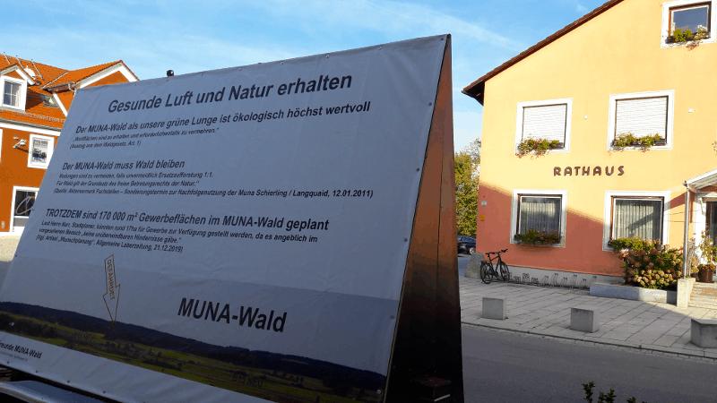 Plakat MUNA-Wald erhalten
